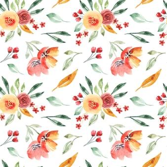 Linda laranja floral aquarela sem costura padrão para impressão