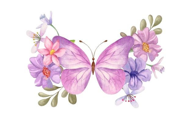 Linda linda borboleta desenhada à mão em aquarela com decoração floral