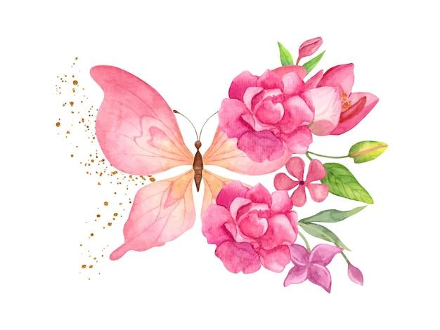 Linda linda borboleta desenhada à mão em aquarela com elementos florais