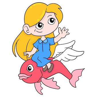 Linda loira com cara feliz montando um peixe no oceano, arte de ilustração vetorial. imagem de ícone do doodle kawaii.