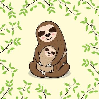 Linda mãe dormindo e bebê bandeira de preguiça