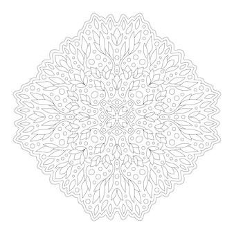 Linda mandala linear monocromática para colorir Vetor Premium