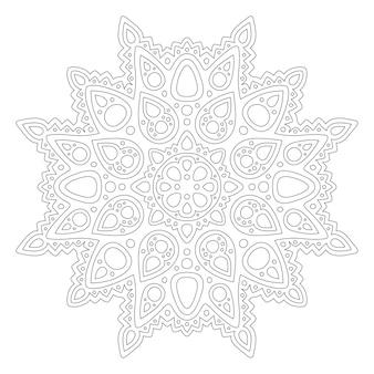 Linda mandala linear monocromática para colorir