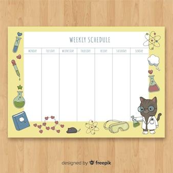 Linda mão desenhada agenda semanal