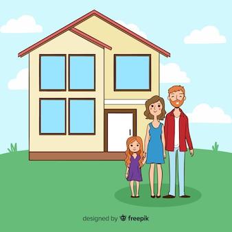 Linda mão desenhada família em casa