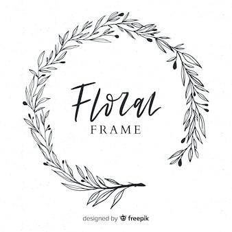 Linda mão desenhada floral frame