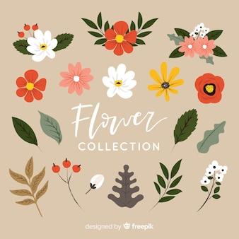 Linda mão desenhada flores coleção