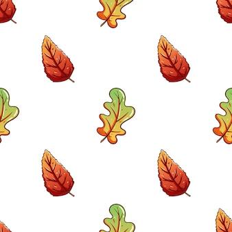 Linda mão desenhada folhas de outono sem costura de fundo