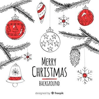 Linda mão desenhada fundo de Natal
