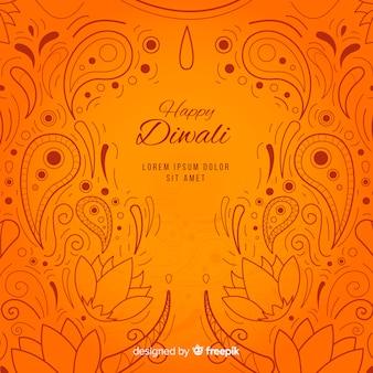 Linda mão desenhada fundo diwali