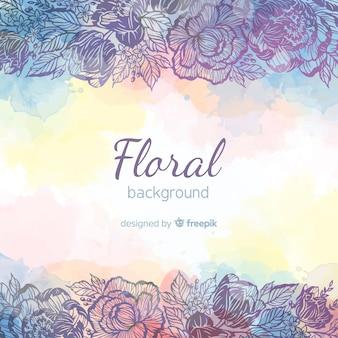 Linda mão desenhada fundo floral