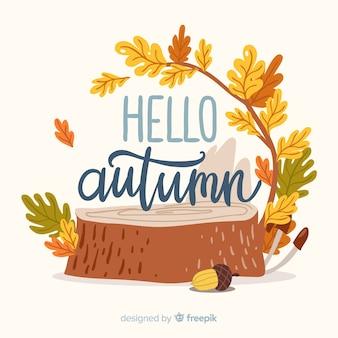 Linda mão desenhada fundo outono