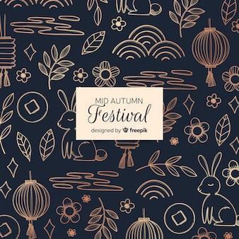 Linda mão desenhada meados festival composição outono