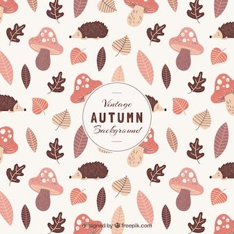 Linda mão desenhada outono folhas fundo