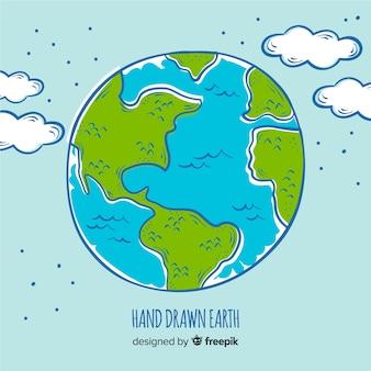 Linda mão desenhada planeta terra composição