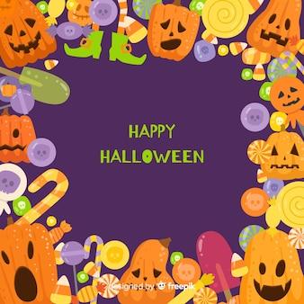 Linda mão desenhada quadro de halloween