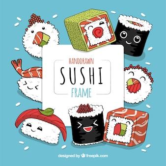 Linda mão desenhada quadro de sushi
