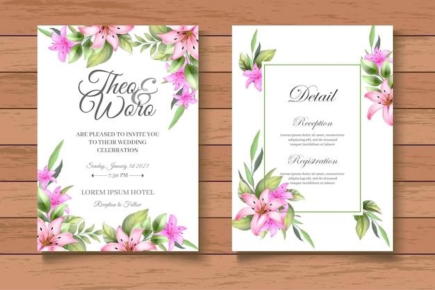 Linda mão desenhando um cartão de convite de casamento floral
