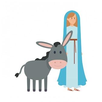 Linda mary virgem com personagens de mula