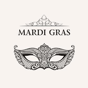 Linda máscara de renda. ilustração de mardi gras