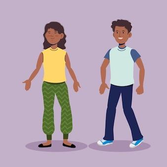 Linda menina e menino conversando com roupas casuais