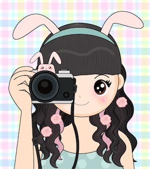 Linda menina está tirando uma foto