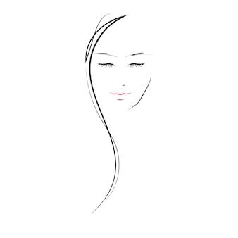 Linda menina - linha ilustração plana