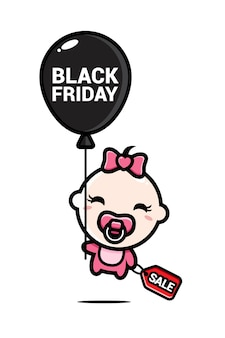 Linda menina voando em um balão preto sexta-feira