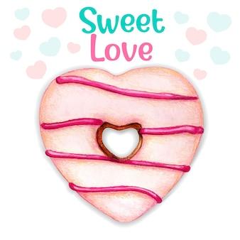 Linda mensagem de amor doce e rosquinha com aquarela rosa