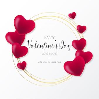 Linda moldura com corações para dia dos namorados