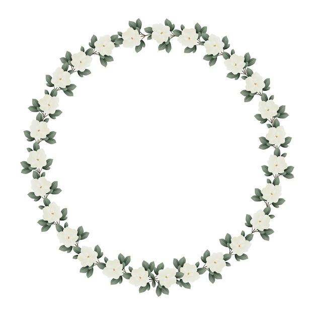 Linda moldura de casamento com flores de magnólia