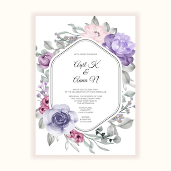 Linda moldura de flores para convite de casamento