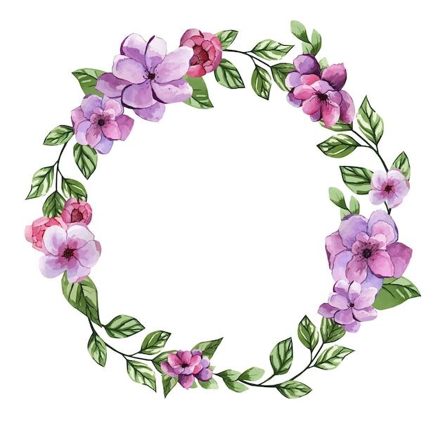 Linda moldura em aquarela de flores roxas claras
