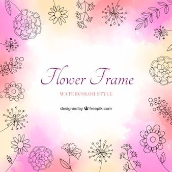 Linda moldura floral aquarela