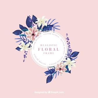 Linda moldura floral com estilo realista