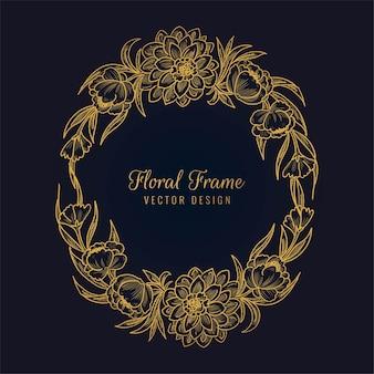 Linda moldura floral dourada decorativa