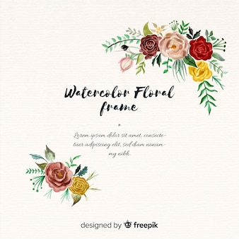 Linda moldura floral em design aquarela
