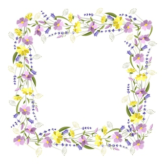 Linda moldura floral quadrada com flores silvestres e folhas. espaço vazio para o texto