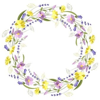 Linda moldura floral redonda com flores silvestres e folhas
