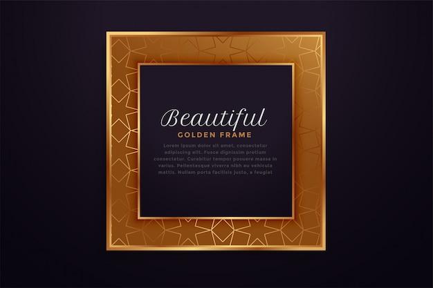 Linda moldura quadrada dourada