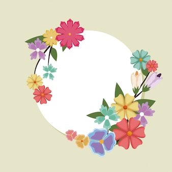Linda moldura redonda primavera florida. banner com borda natural.