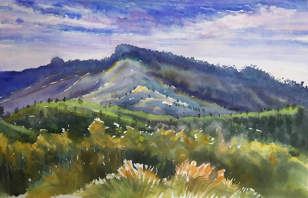 Linda montanha com saccharum spontaneum, kashful view, pintura da natureza, paisagens em aquarela.