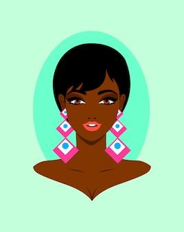 Linda mulher africana com retrato de brincos grandes