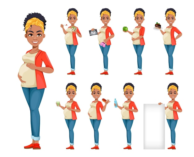 Linda mulher afro-americana grávida com nove poses feliz jovem mãe personagem de desenho animado