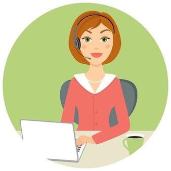 Linda mulher de call center com laptop e fone de ouvido