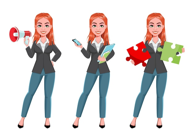 Linda mulher de negócios com três poses