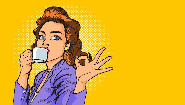 Linda mulher de negócios tomando café e fazendo um gesto de pop arte retrô em quadrinhos
