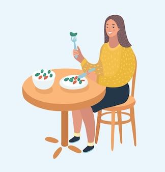 Linda mulher escolhendo entre salada e hambúrguer, comida saudável e junk food.