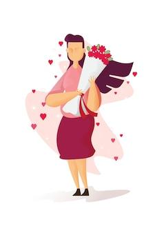 Linda mulher está segurando rosas