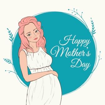 Linda mulher grávida. feliz dia das mães
